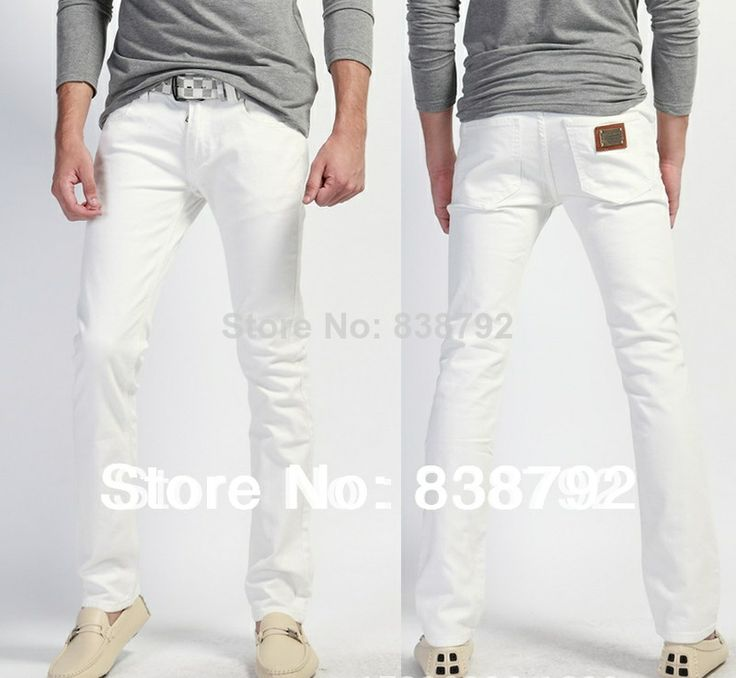 Hot-selling,2014 New Arrival White Skinny Jeans Men Famous Brand Slim Straight Cotton Denim Trousers,Fashion Designer Jeans Man $33.93