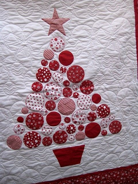 simple red and white quilts | Red and White Christmas Tree Quilt by sondra