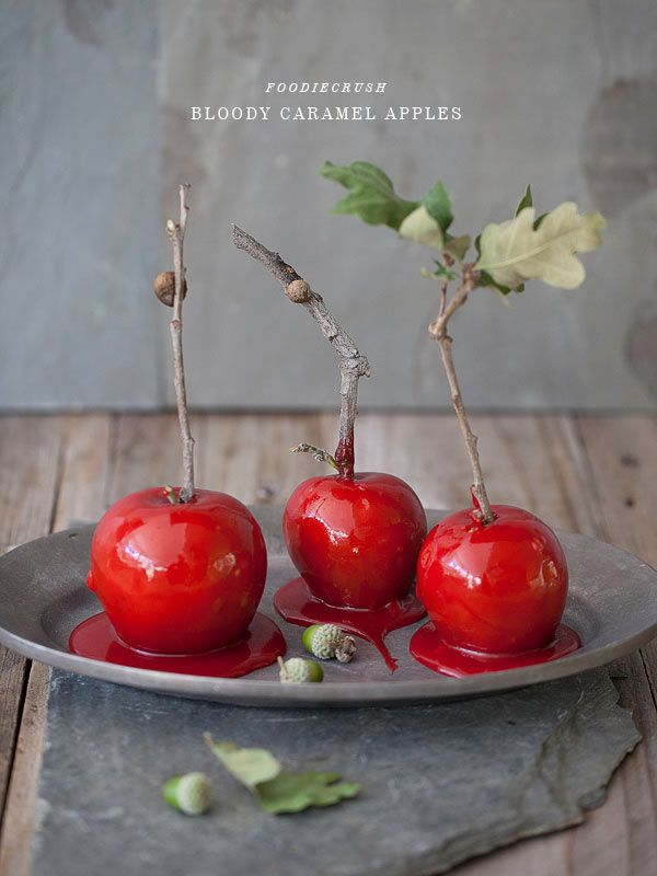 I made these Bloody Caramel Apples for Halloween last year and they were a total hit! I prefer my caramel apples soft and chewy, and these totally fit the bill. A Halloween tradition for sure. #recipe on foodiecrush.com
