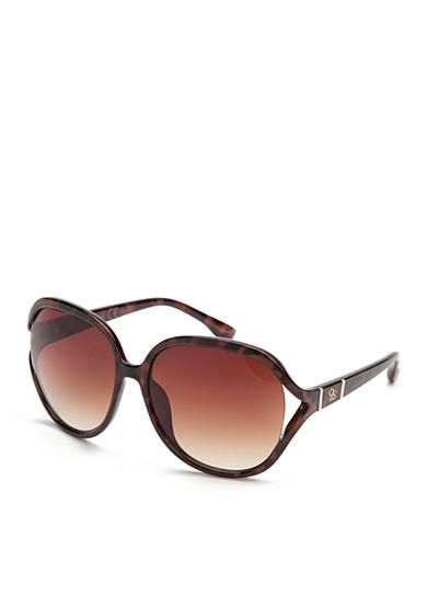 You will be made in the shade in these stylish oversized sunglasses! Featuring a signature Jessica Simpson logo on the temple for a hint of signature flair, this pair is the perfect outdoor accessory.