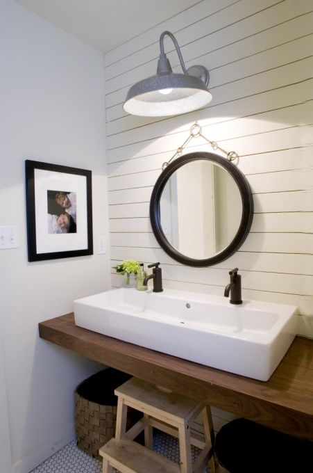 Modern Farmhouse Style, Our kids bath.  Double trough style sink saves space, but gives the luxury of two faucets.  Open below, perfect for a step stool., Bathrooms Design