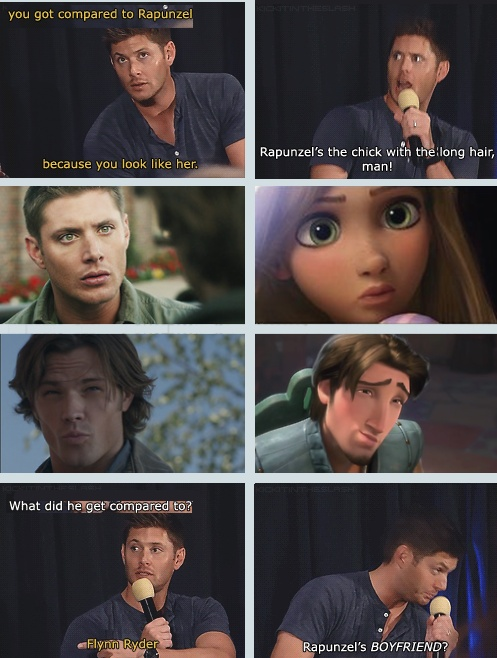 Jensen is a Disney princess and Jared is the rougish theif hahah