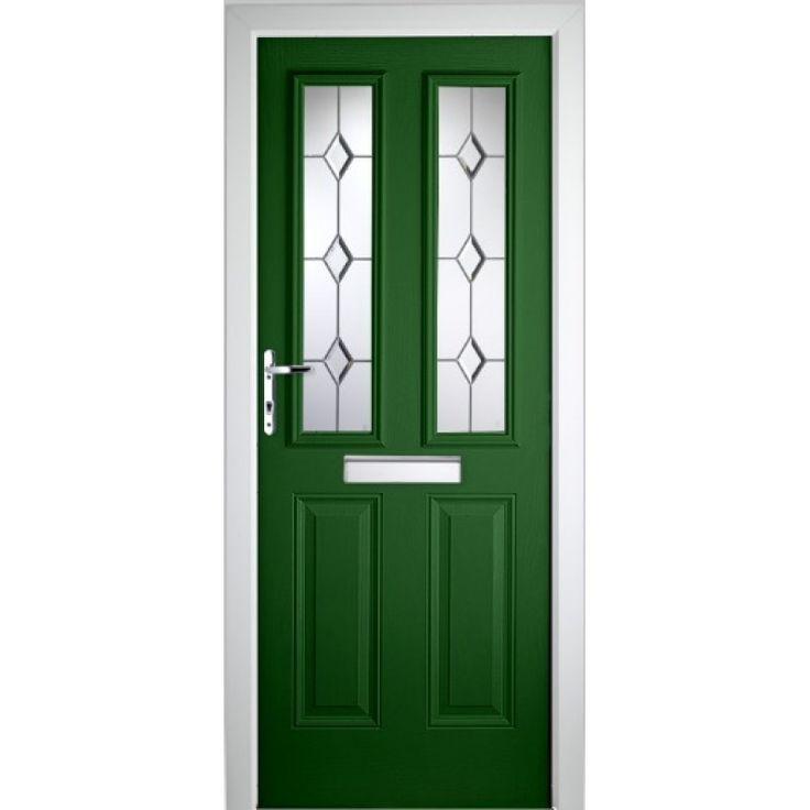 LONDON GLAZED TIMBER EFFECT COMPOSITE FRONT DOOR GREEN (2085MM X 920MM)