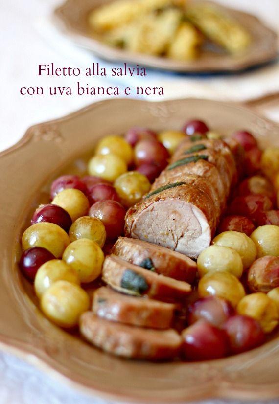 Andante con gusto: Calendario Italiano del Cibo: Filetto di Maiale alla salvia ed uva per la Settimana del Maiale