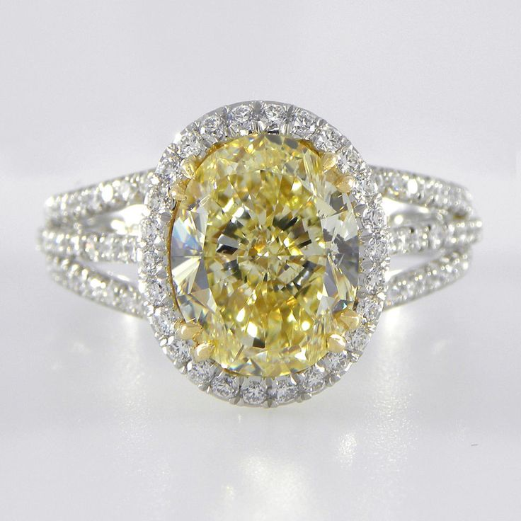 Incredible GIA Canary Yellow Diamond engagement ring Pave Diamond Halo Platinum