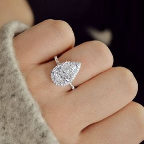 3.00CT Gorgeous Pear Shaped Halo Diamond Engagement Ring 14K White Gold Over SIL…