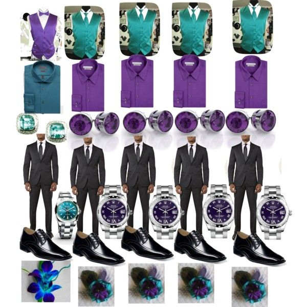 Purple and Teal Wedding-Bestman/Groomsmen by ericapowell on Polyvore featuring polyvore, fashion, style, Calvin Klein, Rolex and clothing