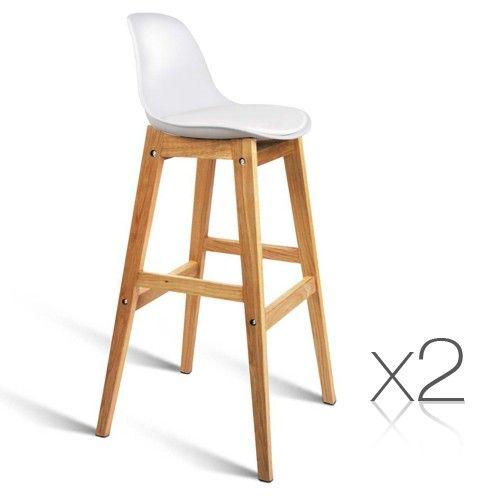 x2 Oak Wood Bar Stools w/ Padded PU Leather Seat - White