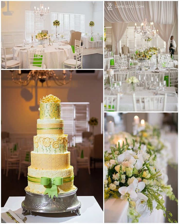 A 5-tiered wedding cake!  This cake was made by South African, Cape Town based cake specialist Kanya Hunt.  Each layer has a different flavour of cake and design on the facade.  See more of this wedding on the ZaraZoo website.  http://www.zara-zoo.com/blog/val-de-vie-wedding-photos/