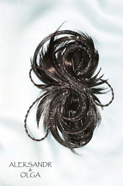 Украшение - ЗАКОЛКА - постиж, чёрная (ИЗ натуральных ВОЛОС) http://www.livemaster.ru/hair-jewellery http://www.aleksandr-and-olga.ru/