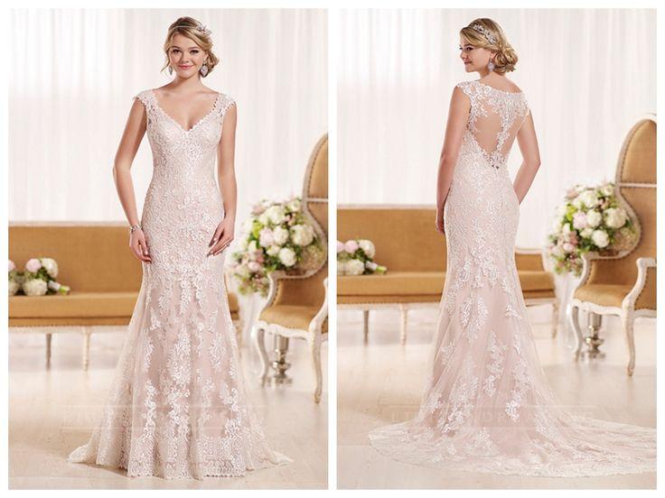 Cap Sleeves Illusion Lace Back Wedding Dress