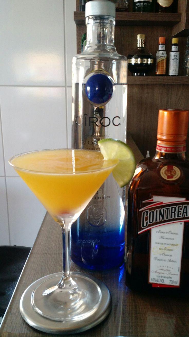 * MANGO MARTINI * - 60 ml. Vodka - 20 ml. Licor Triple Sec - 60 ml. Purê de Manga - 10 ml. Suco de Limão Tahiti - 15 ml. Xarope de Açúcar - 1/2 rodela Limão (para decoração) - 01 Cereja (para decoração) - Coloque todos os ingredientes em uma coqueteleira com gelo e agite bem. - Faça uma dupla coagem para uma taça Martini resfriada. - Decore com meia rodela de limão e uma cereja.
