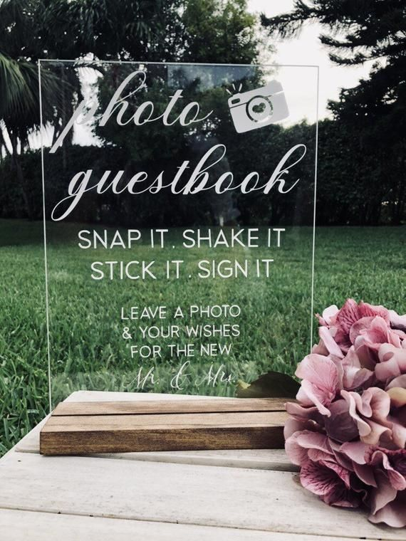 Photo Guestbook Snap It Shake Stick Sign Mrs Mr Acrylic Signs And Stands Glass Wood Hol In 2020 Photo Guest Book Polaroid Guest Book Wedding Photo Guest Book Wedding
