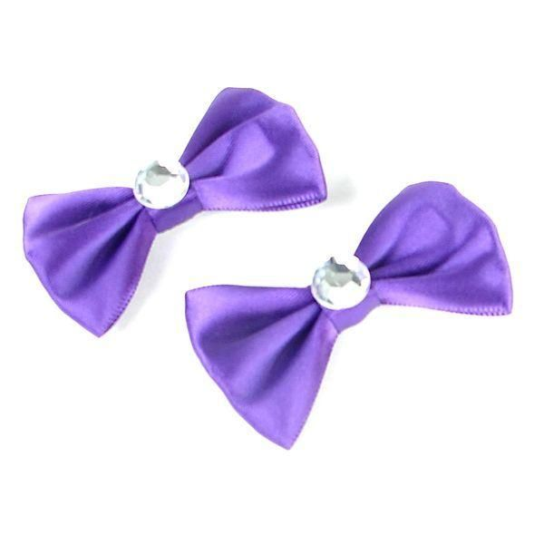 Purple Diamond Hair Bow Set