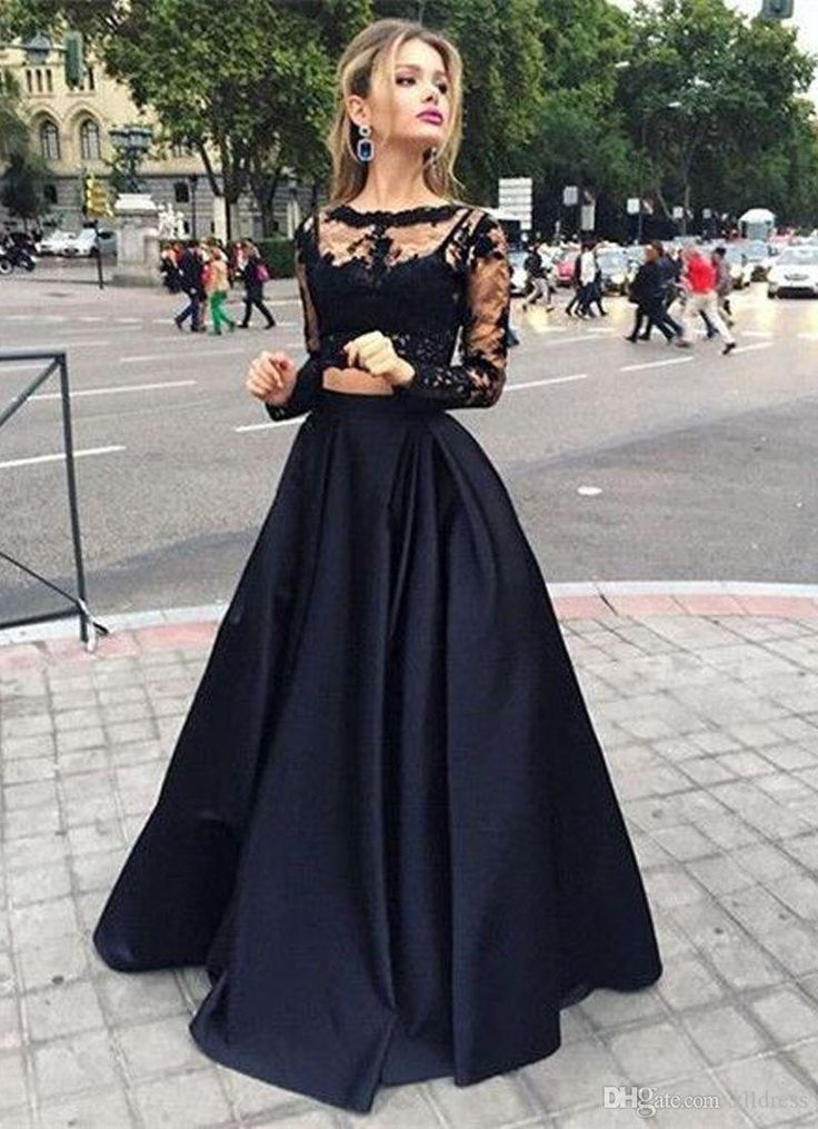 Long Sleeves Prom Dresses Black Two Pieces Lace Top And Satin Sheer Crew Neck Special Occasions Gowns Victorian Style Party Dress