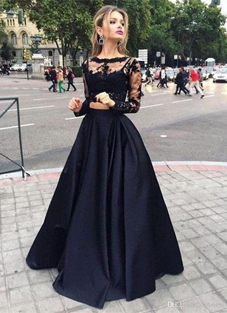 De manga larga vestidos de baile Negro Dos Piezas Top de encaje y satén escarpado con cuello redondo de las ocasiones especiales vestidos del vestido del partido del estilo victoriano