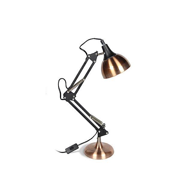 XXL Lampe de bureau articulée en acier noir et cuivre H65cm