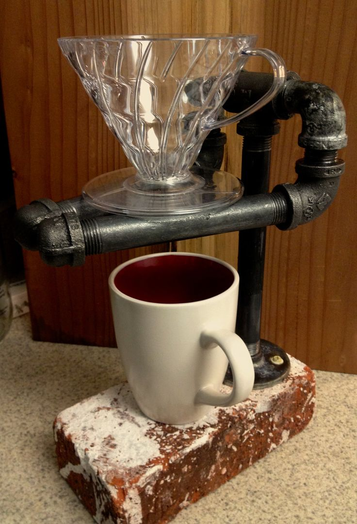 Brick and Pipe Coffee Pour Over Stand. How do people think of this stuff? I'm impressed!