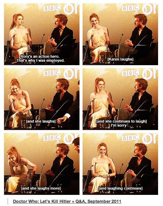 """Rory is an action hero. That is why I was employed."" - Arthur Darvill @ the DW: Let's Kill Hitler Q+A (September 2011)"