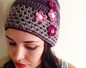 Boho Crochet Beanie - Ombre Purple Earth Tones, Granny Stitch and Flower Embellishment