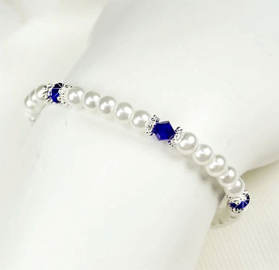 White Pearl and Royal Blue Flower Girl Bracelet by PixieDustFineries