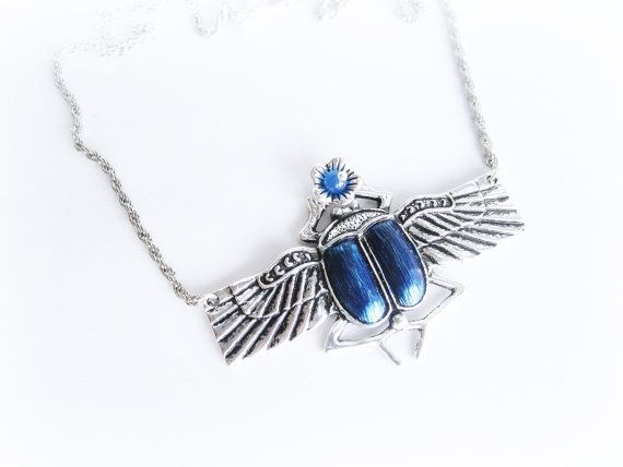 Scarab necklace beetle pendant necklace blue by MalinaCapricciosa