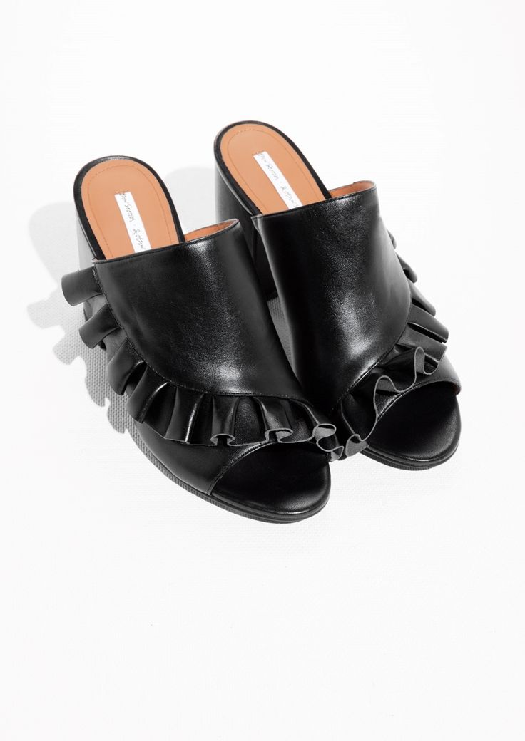 Other Stories image 2 of Frilled Leather Mules in Black