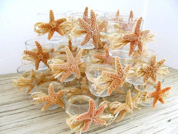 Beach Wedding Decor Sugar Starfish Votives With Natural Raffia