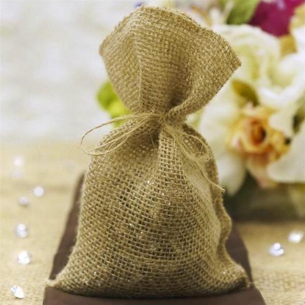 10 Natural Brown Burlap Favor Gift Bags