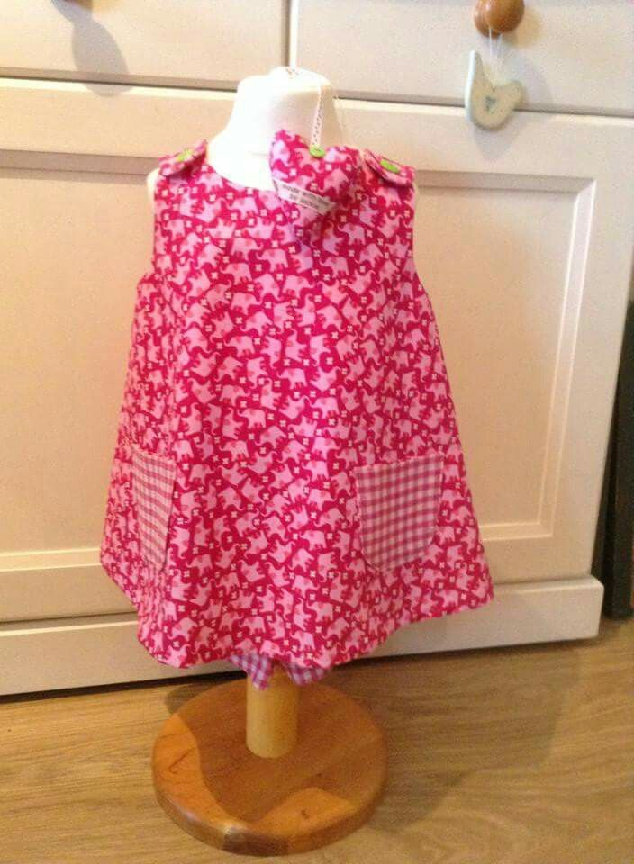 Lucy top in pink elephant cotton with gingham pockets/trim/shorts