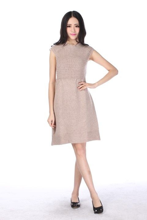 Knitted dress MONTPARNASSE Mottled beige - EmKha