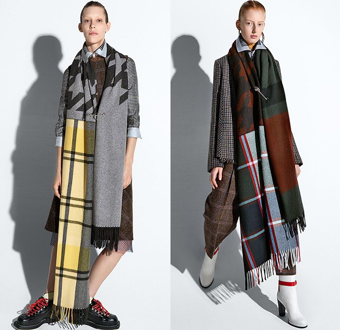 Acne Studios 2015 Pre Fall Autumn Womens Lookbook Presentation - Denim Jeans Dress Frayed Knit Windowpane Check Oversized Coat Houndstooth Safety Pin Lace Cropped Pants Trousers Gloves Blazer Tartan Leggings Sneakers Sporty Spikes Boots Shawl Cloak Scarf Blouse Preppy Knot Ribbon Beanie Chunky Knit Cap Wrap Robe Multi-Panel Shearling Cargo Pockets Vest Waistcoat Sheer Chiffon Leather Double Breasted