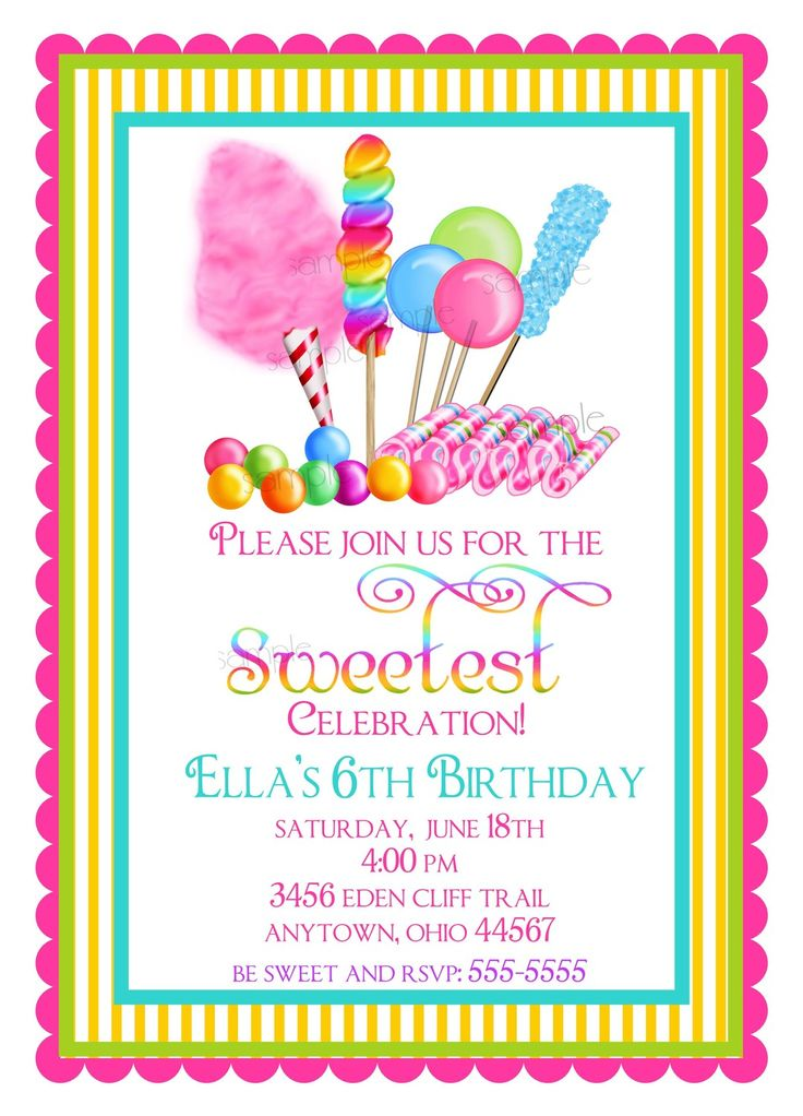 2563beba21f57783effcea4a83f167d2 candy shop birthday party ideas candy birthday party theme best 25 children's party invitations ideas on pinterest,Cake Decorating Birthday Party Invitations
