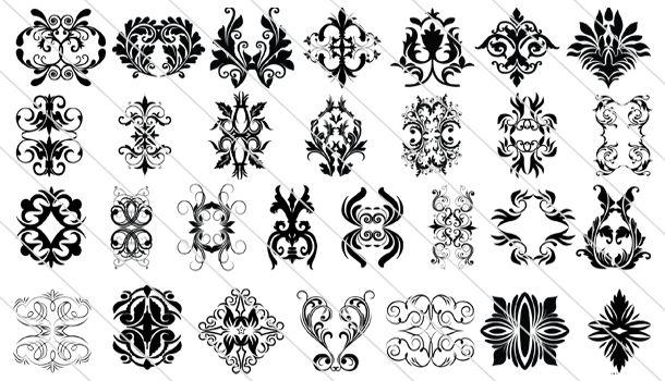 Huge collection of 65 Victorian Vintage Ornament Design
