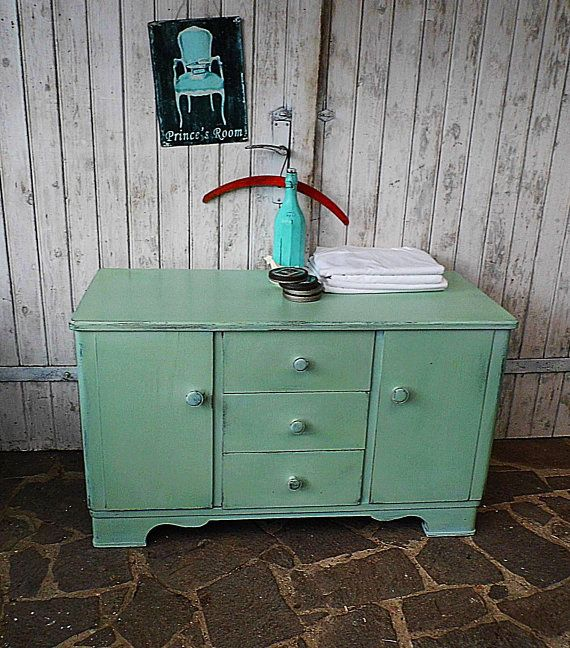 Old Dresser Turquoise Pastel Light Green Shabby Chic Sideboard