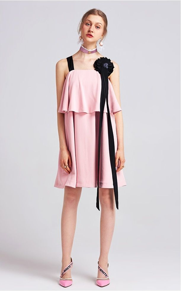 3D Flower Ribbon Ladies Little Pink Dress