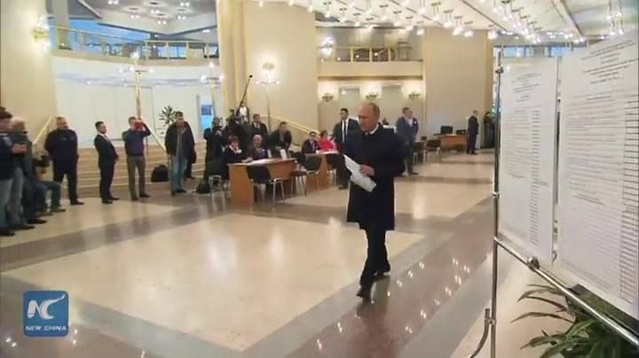 Russian President Vladimir Putin voted for the State Duma parliamentary elections in Moscow, at the polling station 2151 located in the building of the Russian Academy of Sciences on Leninsky Prospekt.  Exit polls showed that Russia's ruling party the United Russia led in Sunday's election of the lower house of the parliament with 44.5 percent of votes.