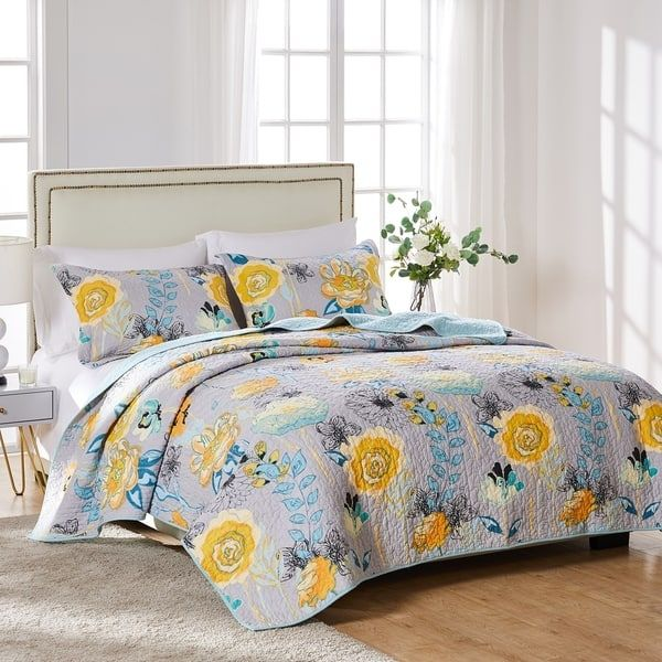Overstock Com Online Shopping Bedding Furniture Electronics Jewelry Clothing More In 2021 Gray Bed Set Yellow Bedding Sets Bedding Sets Grey Blue and yellow quilt sets