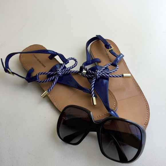 Nautical sandal blue Lightly worn sandal, with a glossy finish material. Light scratches on the footbed as pictured Tommy Hilfiger Shoes
