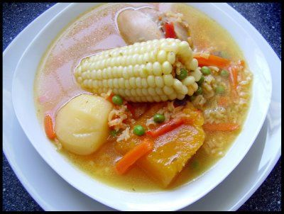 Chilean stew made with chicken or beef with chunks of corn, potato, pumpkin, and small noodles.