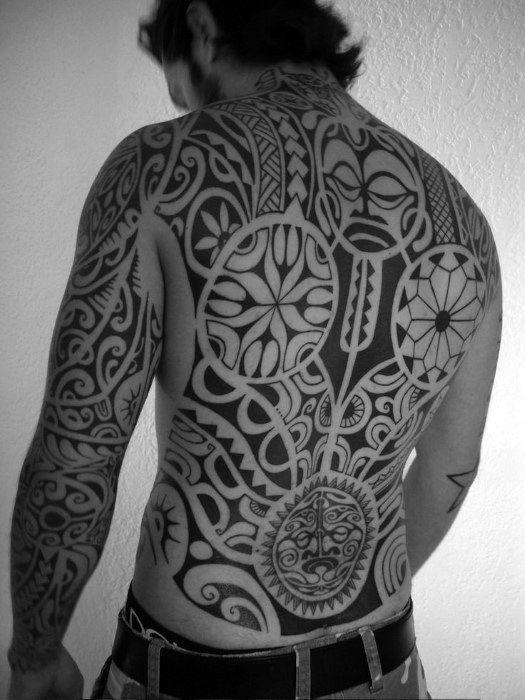 Full Back Maori Male Tattoos