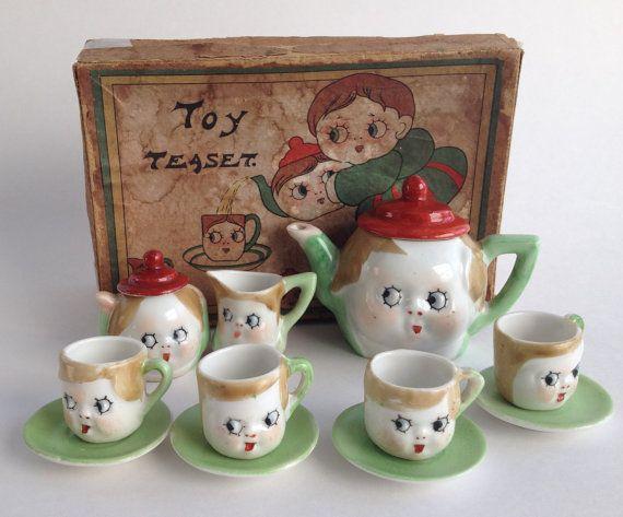 Antique 1920's Miniature Googly Eyes Tea Set by VintageCharacter