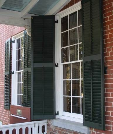 12 best images on pinterest blinds - Exterior wooden shutters for windows ...