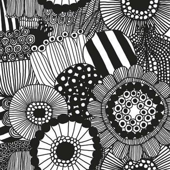 Siirtolapuutarha Fabric in white, black