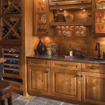 I would rather have this than a double oven!Rustic Wine Storage and Bar Area