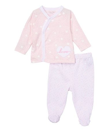 Look what I found on #zulily! Light Pink 'Love' Cardigan & Gray Footie Pants #zulilyfinds