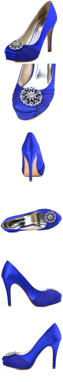 ElegantPark HC1609P Women Pumps Closed Toe Platform High Heel Buckle Chiffon Satin Evening Dress Wedding Shoes Royal Blue US 10