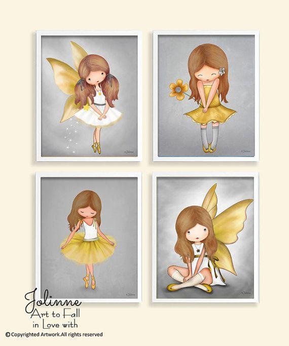 Kunst aan de muur voor meisjes kamer kunstwerk geel en door jolinne