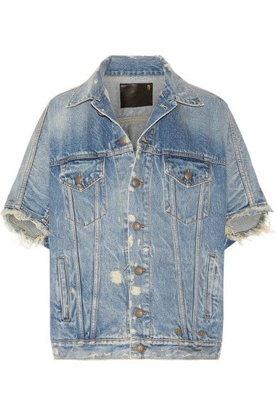 R13 - Distressed Denim Vest - Mid denim -