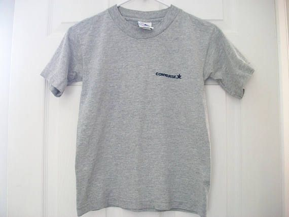 Vintage Converse T Shirt, Women's Gray Short Sleeve Small Tee Shirt, Converse Grey Sports Tee with Altered Sleeves, S Converse T-Shirt